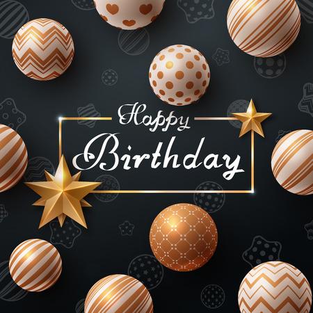 Happy birthday. Beautiful dark template. Vector eps 10