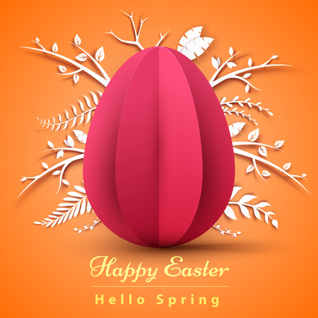 Happy Easter. Paper origami illustration. Vector eps 10 Imagens - 124996542