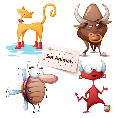 Cat, bull, cockroach, devil - set animals