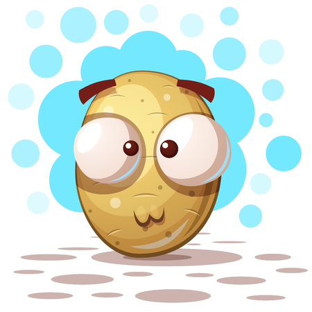 Cute crazy potato - cartoon illustration
