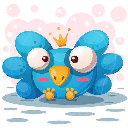 Cute bird illustration. Cartoon characters. Vector eps 10