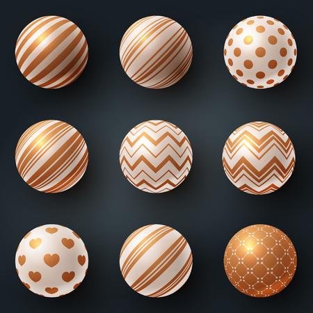 Set texture ball - realistic icon. Vector eps 10