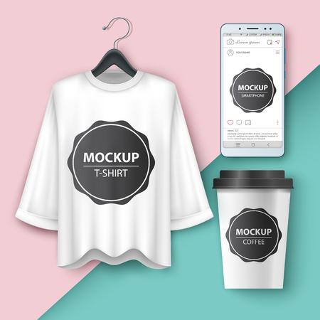 Set mockup t-shirt, smartphone, cup coffe tea Vector eps 10