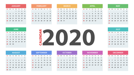 Calendar 2020 year. Business template.  イラスト・ベクター素材