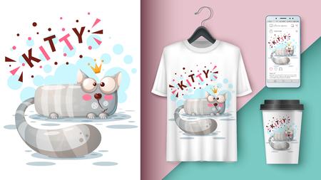 Crazy princess cat - mockup for your idea. Vector eps 10 Illustration