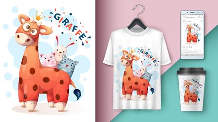 Giraffe, cat, kitty, rabbit - mockup for your idea Vector eps 10 Illustration