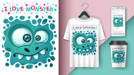 Cute monster - mockup for your idea. Vector eps 10