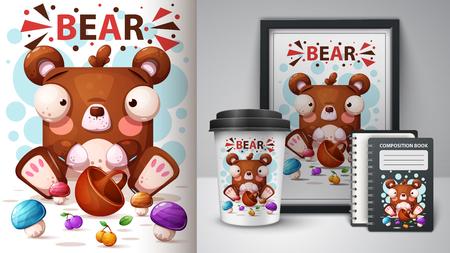 cute cartoon bear - mockup for your idea. Vector eps 10 Vettoriali