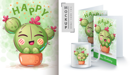 Cactus flower - mockup for your idea