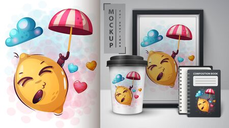 Love lemon - mockup for your idea. Vector eps 10