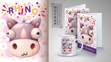 Crazy rhino - mockup for your idea. Vector eps 10 일러스트