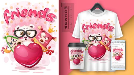 Friends animals - mockup for your idea Standard-Bild - 133347502