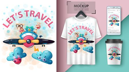 Cartoon animals travel - mockup for your idea. Vector eps 10
