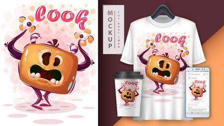 Evil monster - mockup for your idea Illustration