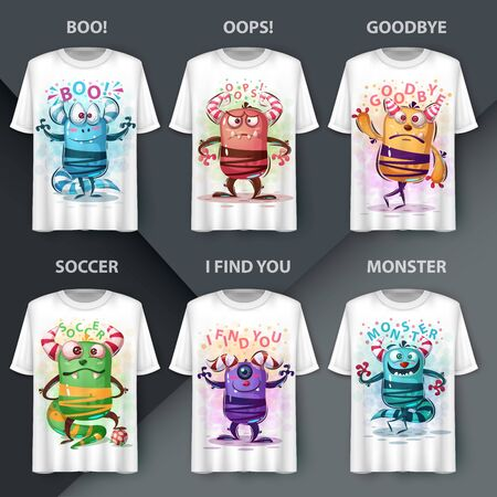 Set character - monster cartoon monster. Vector eps 10 Çizim