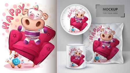 Happy unicorn poster and merchandising Ilustração