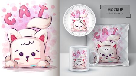 Cute cat poster and merchandising