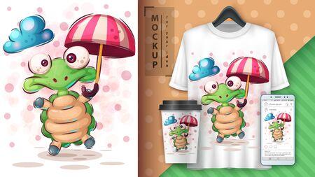 Turtle with umbrella poster and merchandising Çizim