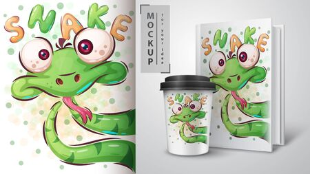 Cute snake poster and merchandising