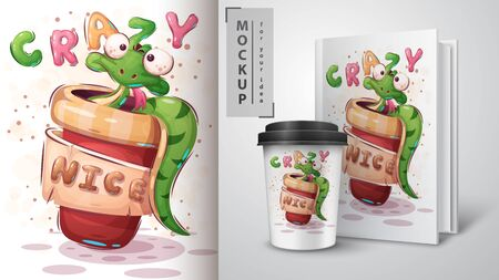 Crazy snake poster and merchandising. Vector eps 10