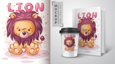 Cuteteddy lion poster and merchandising.