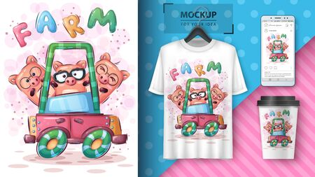 Funny pig poster and merchandising. Vector eps 10.