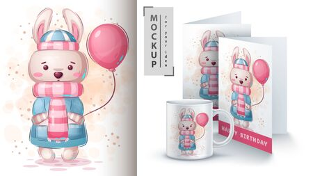 Rabbit with air balloon poster and merchandising. Vector eps 10 Vettoriali
