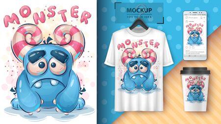Sad monster poster and merchandising. Vector eps 10 Illustration