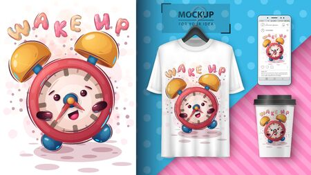 Cute allarm clock poster and merchandising. Vector eps 10 Ilustracja