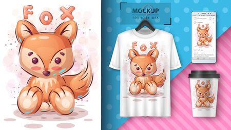 Cute fox poster and merchandising. Vector eps 10