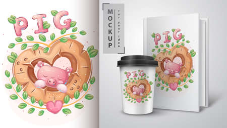 Pig in wood heart - poster and merchandising. 일러스트