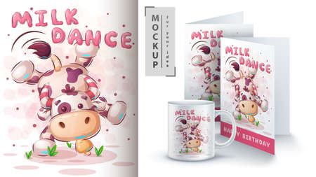 Cow dance - poster and merchandising. Фото со стока - 152211465