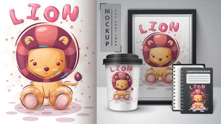 Cute lion poster and merchandising.