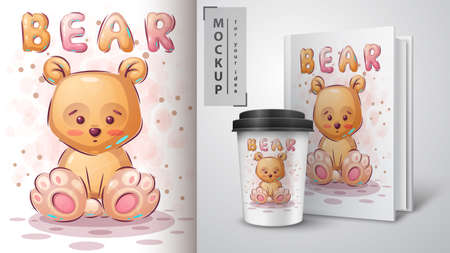 Teddy yellow bear poster and merchandising.