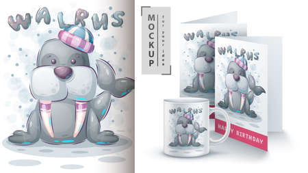 Winter walrus poster and merchandising.