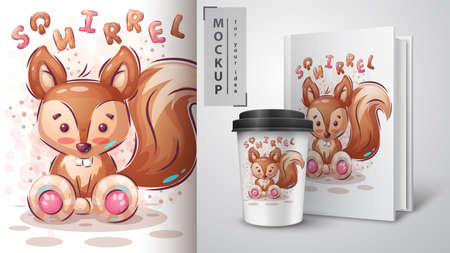 Cute squirrel poster and merchandising.