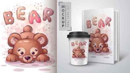 Teddy bear poster and merchandising. Vettoriali