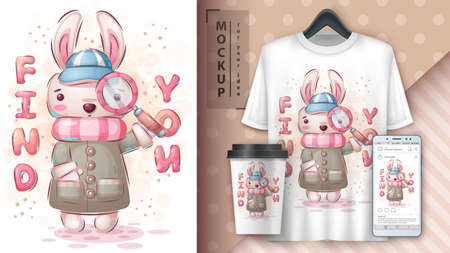 Detective rabbit poster and merchandising.