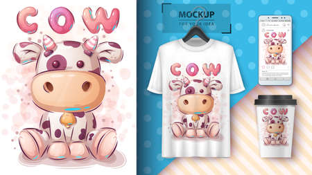 Pretty cow poster and merchandising. Vettoriali
