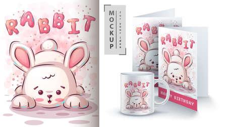 Cute rabbit poster and merchandising.