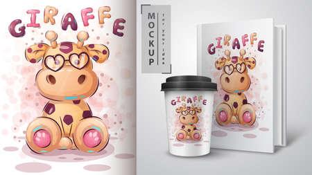 Teddy giraffe poster and merchandising. Archivio Fotografico