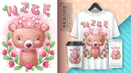 Pretty bear - poster and merchandising. Vettoriali