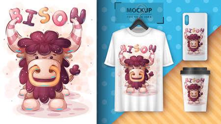 Big bison - poster and merchandising.