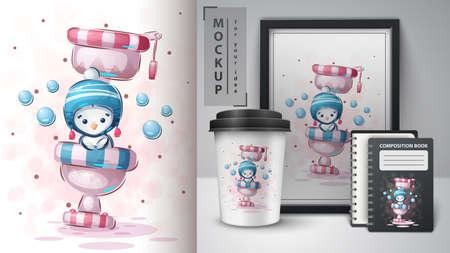 Penguin on toilet - poster and merchandising.