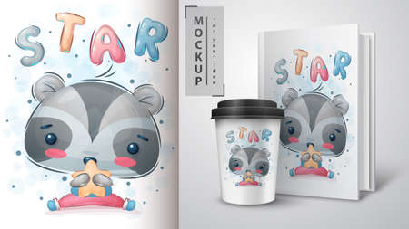 Star raccoon - poster and merchandising. Vettoriali