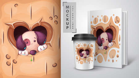Puppy in heart hole - poster and merchandising.