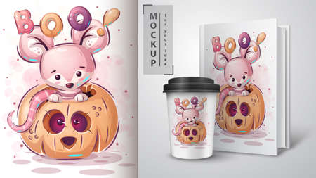 Mouse in pumpkin - poster and merchandising. Vettoriali