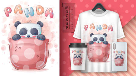 Panda in cup - poster and merchandising.