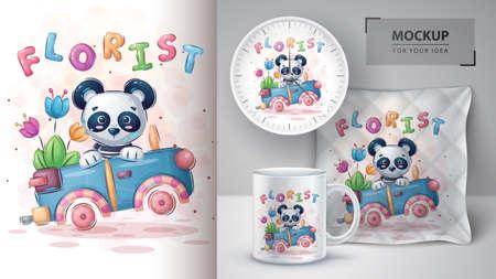 Travel panda - poster and merchandising.