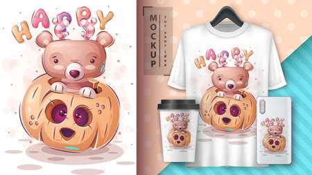 Happy bear - poster and merchandising.